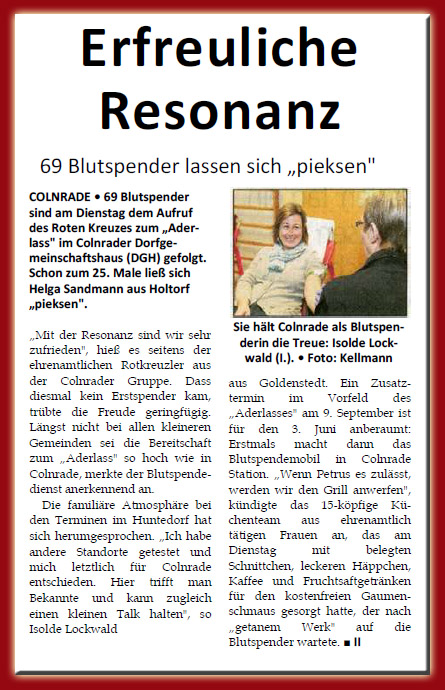 Blutspenden 2014 in Colnrade